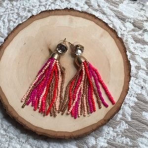 J. Crew Multi-Color Pink Beaded Tassel Earrings
